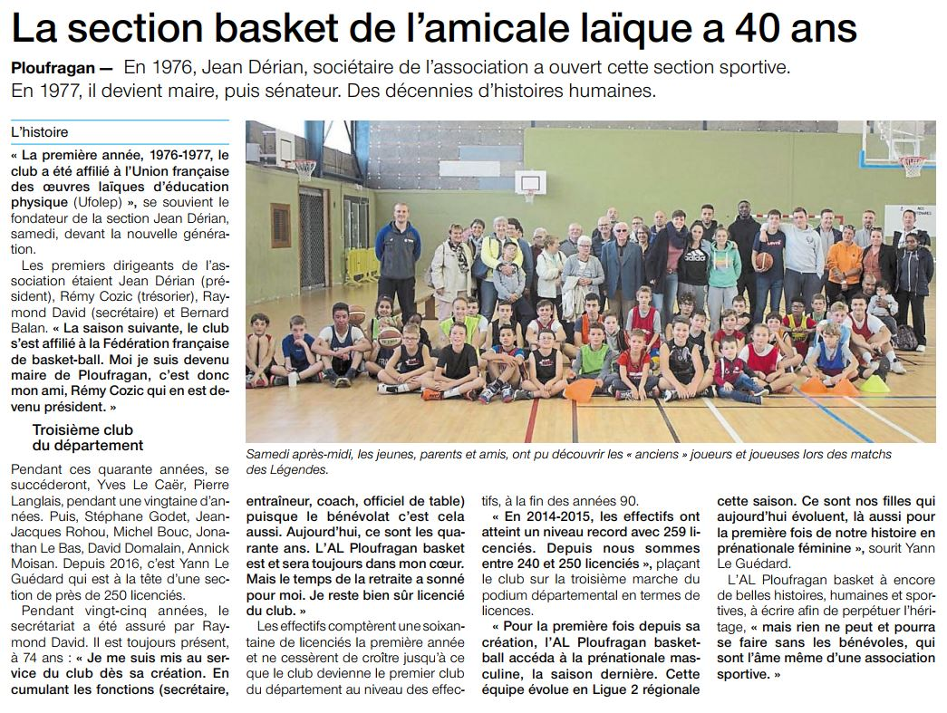 La section basket de l'amicale laïque a 40 ans